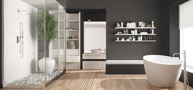 visuel d'une salle de bains en bois et pierre