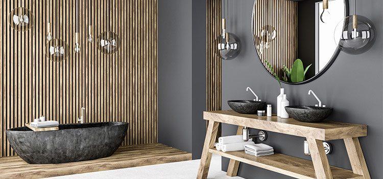 visuel d'une salle de bains mettant en avant une vasque en béton