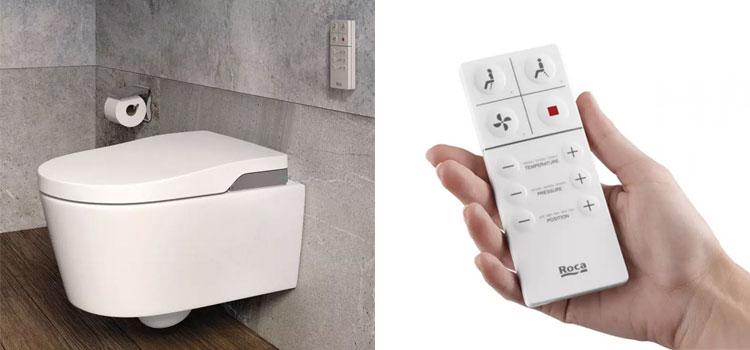 wc lavant suspendu et représentation d'une main utilisant une télécommande