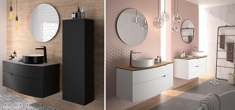 meuble de salle de bains suspendu de couleur noire