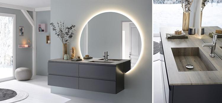 meuble de salle de bains suspendu avec grand miroir lumineux de forme ronde