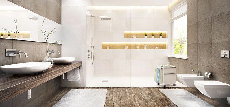 salle de bains moderne avec une dominante de couleur marron
