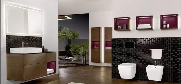 Collection de salle de bains de couleur marron