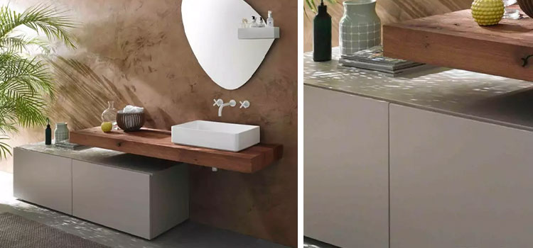 salle de bains style exotique à dominante marron
