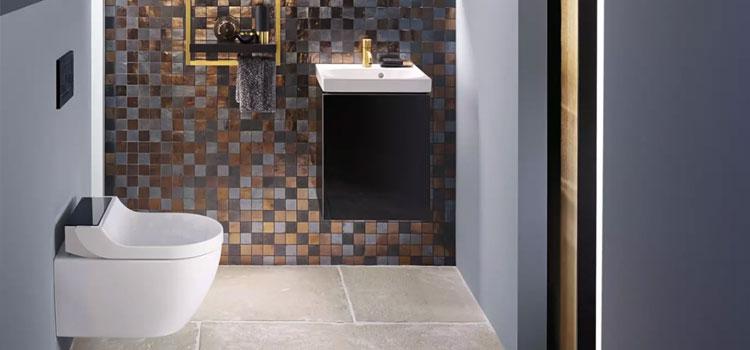 espace toilettes avec WC et lave main