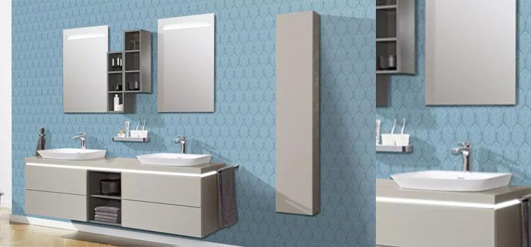meubles de salle de bains double vasque de couleur gris avec deux miroirs lumineux