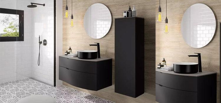 meuble vasque avec une colonne de rangement et un miroir de forme ronde