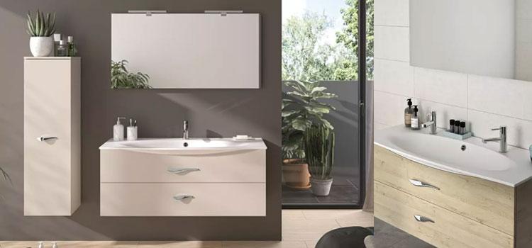 meuble de salle de bains avec colonne de rangement et miroir rectangulaire