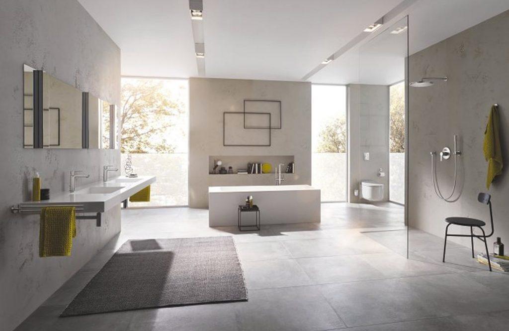 Salle de bains avec double vasque Grohe Lineare
