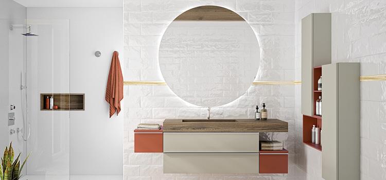 salle de bains avec miroir rond