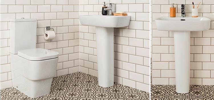 lavabo sur colonne installé dans les toilettes