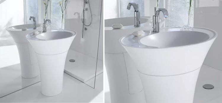 lavabo sur colonne installé dans la salle de bains