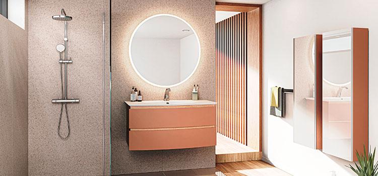 meuble de salle de bains suspendu avec miroir de salle de bains rond