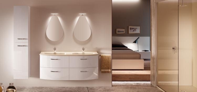 ensemble salle de bains avec douche italienne, meuble double vasque, etc...
