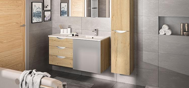 meuble de salle de bain effet bois
